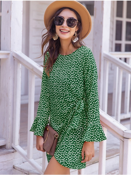 Dresswel Women Floral Printed Crew Neck Hem Split Waistband Long Sleeve Mini Dress