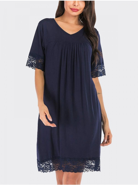 Dresswel Women Solid Color V Neck Short Sleeve Lace Stitching Comfy Nightdress Sleepwear Tops