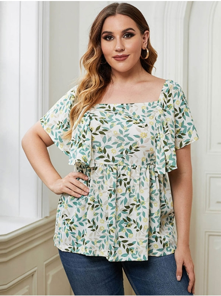 Dresswel Women Leaf Print Butterfly Sleeve Plus Size T-Shirt Tops