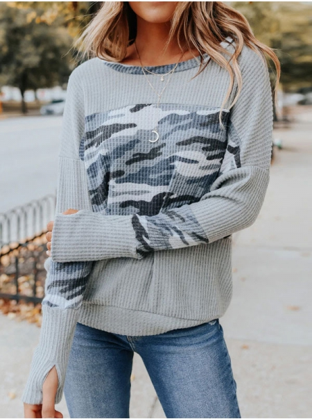 Dresswel Women Camouflage Printed Splicing Round Neck Long Sleeve Jumper Sweater Tops