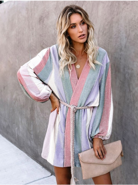 Dresswel Women Colorful Vertical Striped Color Block Waistband Long Sleeve Coat Tops