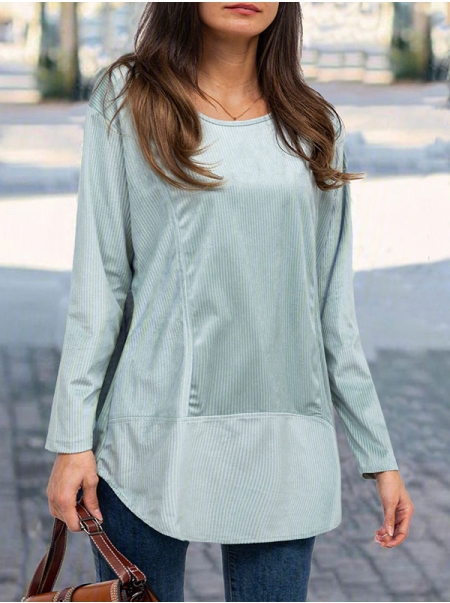 Dresswel Women Plain Irregular Hem Pullover Crew Neck Long Sleeves T-shirt Top