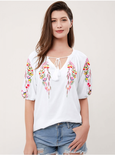 Dresswel Women 3/4 Sleeve Tie Neck Floral Sparrow Embroidered Blouse Tops