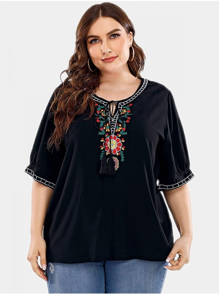 Dresswel Women Embroidered Notch Round Neck Tassel Plus Size T-shirt Tops