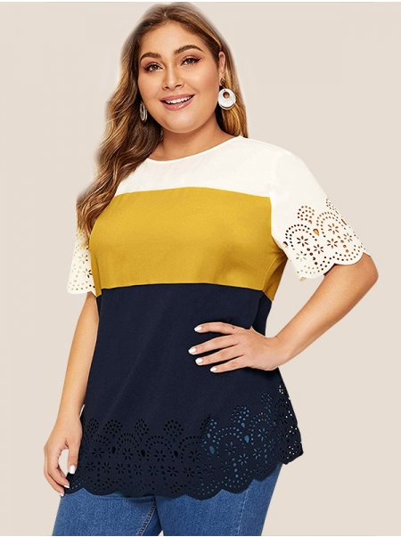 Dresswel Women Plus Size Colorblock Hollow Out Scallop Hem T-shirt Tops
