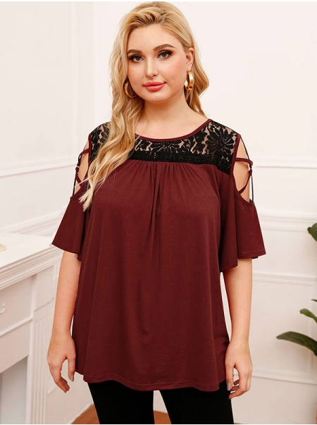 Dresswel Women Lace Panel Cold Shoulder Plus Size Half Sleeve Pullover T-shirt Tops