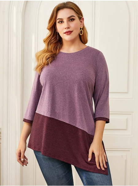 Dresswel Women Asymmetric Hem Plus Size Color Block T-Shirt Tops