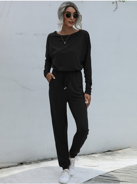 Dresswel Women Solid Color Drawstring Waist Pocket Round Neck Long Sleeve Casual Jumpsuit