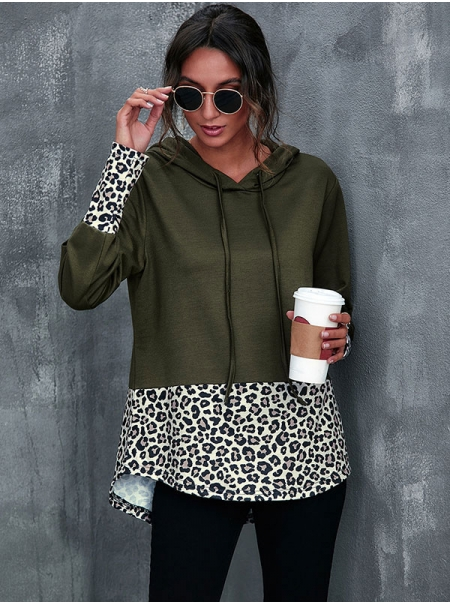 Dresswel Women Leopard Colorblock Long Sleeve Pullover Drawstring Hoodie Tops