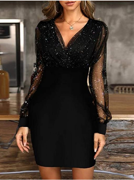Dresswel Women Solid Mesh Splicing Sequins Deep V-neck Bodycon Mini Party Cocktail Dress
