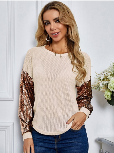 Dresswel Women Sequins Color Block Round Neck Waffle Long Sleeves Knitwear Tops