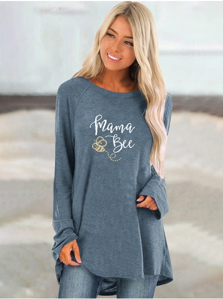Dresswel Women Mama Bee Letter Bee Graphic Printed Long Sleeve Tunics Blouse Tops