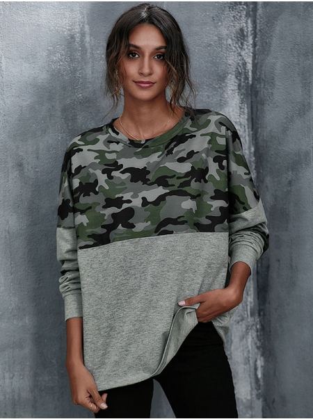Dresswel Women Camouflage Colorblock Crew Neck Long Sleeve Loose Pullover Blouse Tops