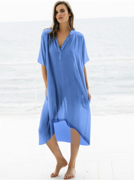 Dresswel Women Solid Color See Through Short Sleeve V Neck Cover Up Blouse Tops