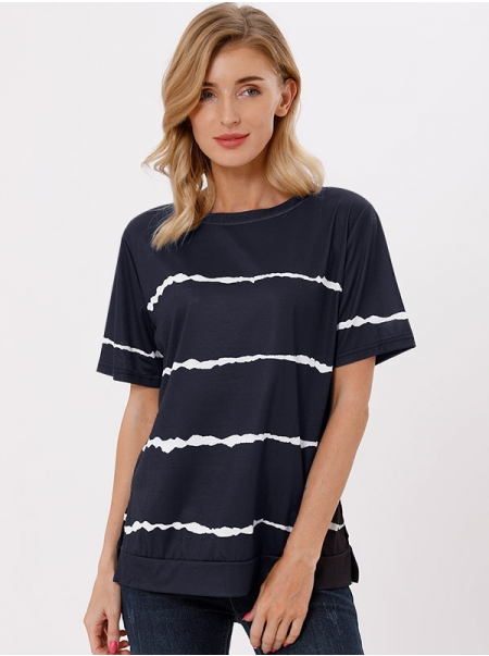 Dresswel Women Striped Tie-Dyed Printed Crew Neck Short Sleeve Casual T-shirt Tops