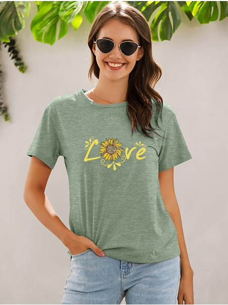 Dresswel Women Love Letter Sunflower Leopard Floral Graphic Printed T-shirts Tops