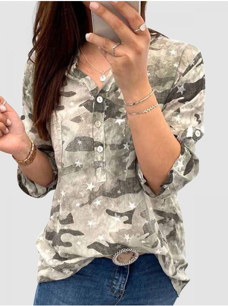 Dresswel Women Camouflage Stars Printed Buttons Long Sleeve Pocket Blouse Tops