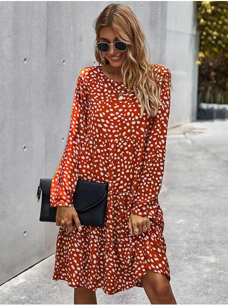 Dresswel Women Graphic Printed Crew Neck Long Sleeve Stylish Casual Loose Midi Dress