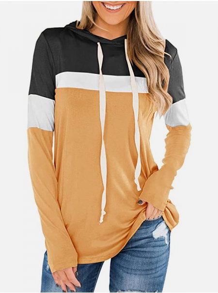 Dresswel Women Contrast Color Hooded Drawstring Long Sleeve Sweatshirt Hoodies Tops