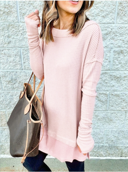 Dresswel Women Solid Color Side Split Patchwork Round Neck Long Sleeve Tunic Blouse Tops