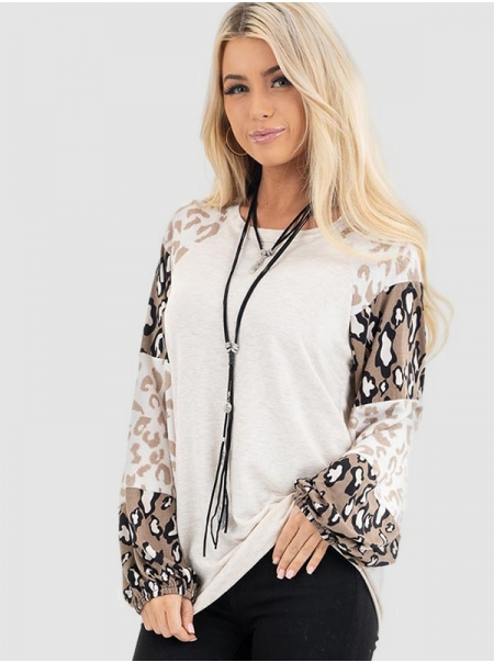 Dresswel Women Leopard Print Color Block Patchwork Raglan Long Sleeve T-shirt Tops