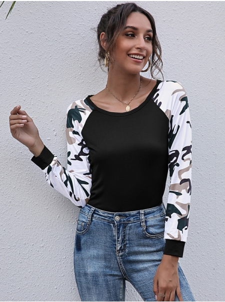 Dresswel Women Crew Neck Long Sleeve Camouflage Colorblock T-Shirts Blouse Tops
