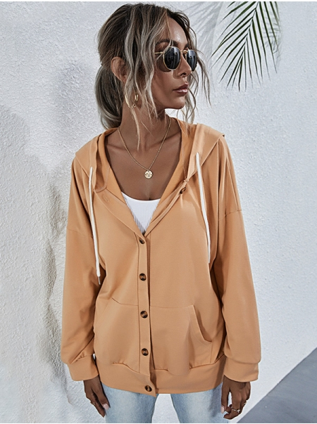 Dresswel Women Solid Color Button Pocket Long Sleeve Casual Hooded Jacket Coat