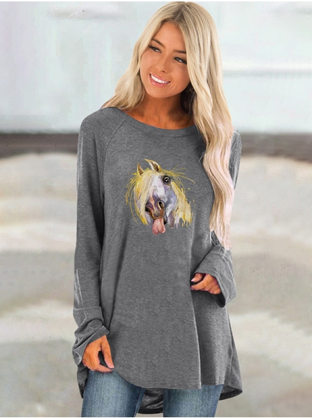 Dresswel Women Colorful Funny Horse Printed Raglan Long Sleeve Tunic T-shirt Tops