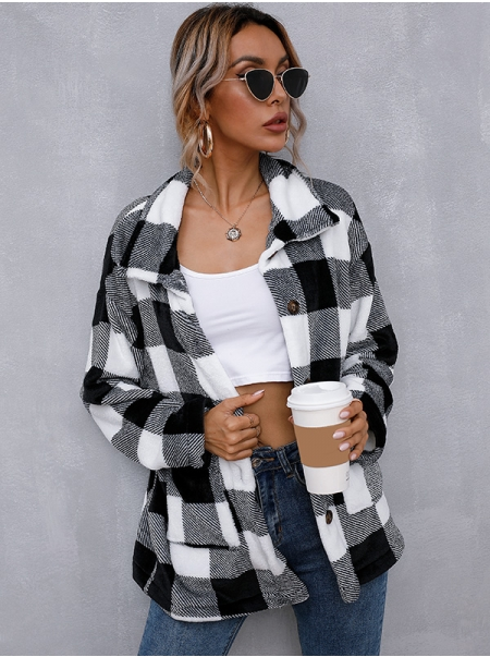 Dresswel Women Checked Printed Lapel Neck Long Sleeve Buttons Pockets Outwear Coat Tops