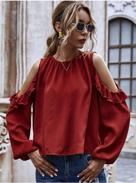 Dresswel Women Frill Cold Shoulder Pure Color Blouse Buttons Long Sleeve Shirt Tops
