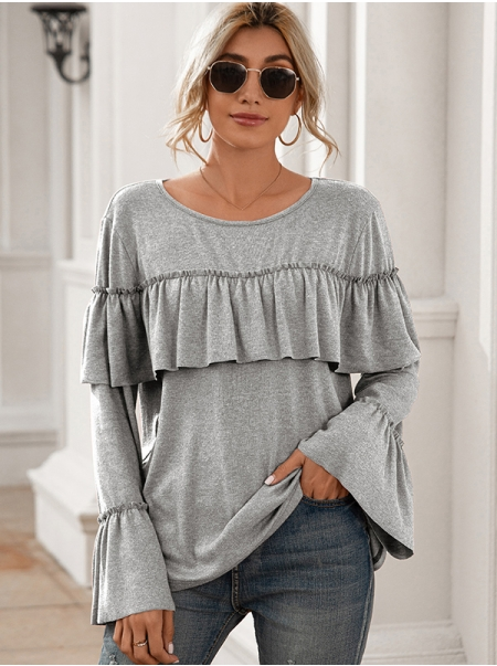 Dresswel Women Solid Color Ruffle Patchwork Long Flare Sleeve Trendy Blouse Tops