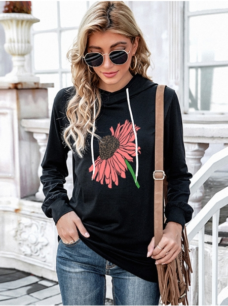 Dresswel Women Sunflower Floral Printed Hooded Drawstring V Neck Casual Hoodies Tops