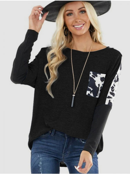Dresswel Women Cow Print Color Block Splicing Front Pocket Long Sleeve T-shirt Tops