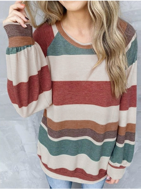 Dresswel Women Color Block Striped Round Neck Long Sleeve Loose Fit T-shirt Tops