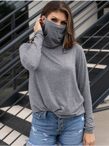 Dresswel Women Solid Color Casual Long Sleeve Bottoming Heap Collar Pullover T-Shirt Tops