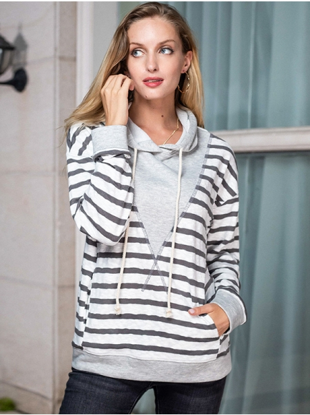 Dresswel Women Stripe Long Sleeve Pocket Drawstring Pullover Loose Fit Hoodie Tops