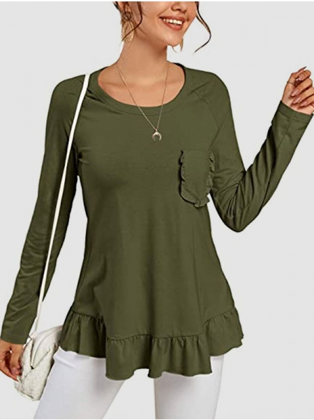 Dresswel Women Solid Color Crew Neck Long Sleeve Pocket Ruffled Casual T-Shirts Tops