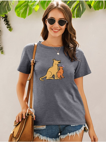 Dresswel Women Cute Dog Puppy Graphic Print Short Sleeve Loose Fit T-shirt Tops