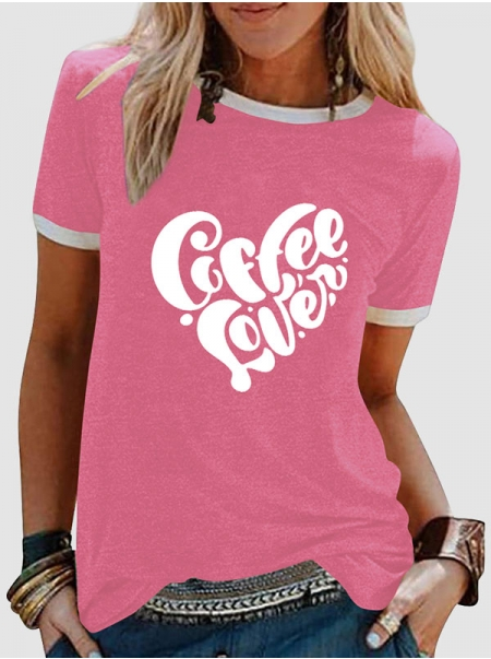 Dresswel Women Coffee Lover Letter Printed Color Block Short Sleeve T-shirts Tops