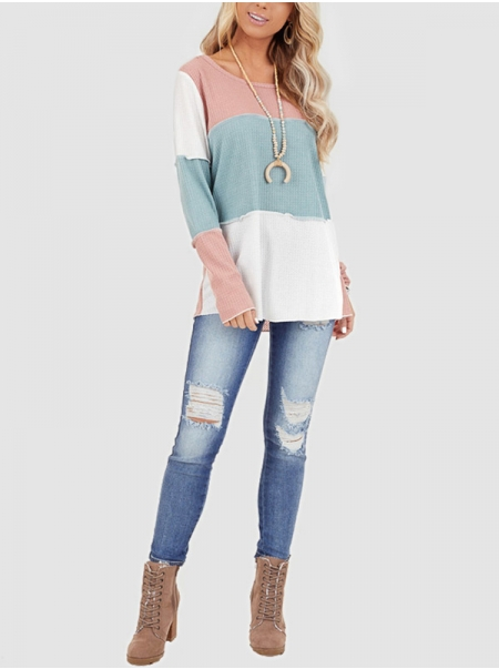 Dresswel Women Round Neckline Long Sleeve Colorblock Waffle Comfy Loose T-Shirts Tops