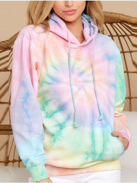Dresswel Women Tie-Dyed Print Kangaroo Pocket Long Sleeve Casual Hoodies Tops