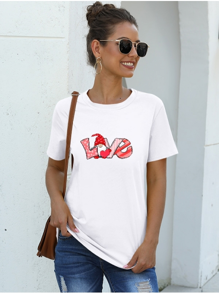 Dresswel Women Love Letter Gnome Graphic Printed Crew Neck Valentines T-shirts Tops