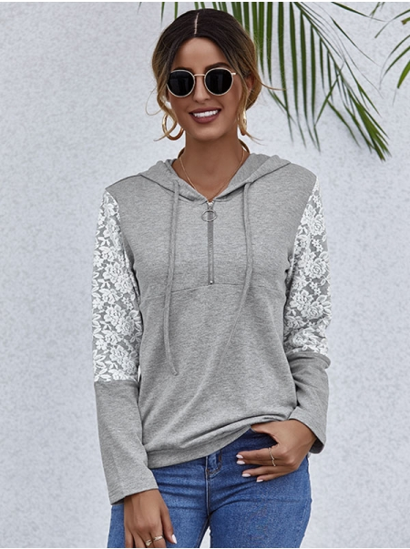 Dresswel Women Floral Print Long Sleeve Lace Stitching Hooded Zipper Hoodie Tops