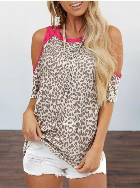 Dresswel Women Leopard Print Cold Shoulder Half Sleeve O Neck Pullover T-Shirt Tops