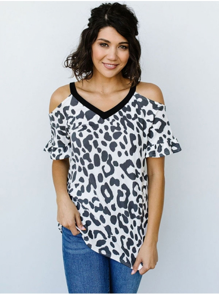 Dresswel Women Leopard Print Ruffle Short Sleeve Cold Shoulder Loose T-Shirt Tops