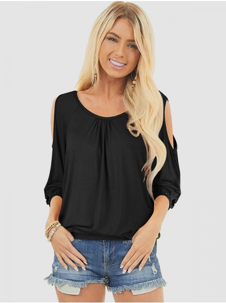 Dresswel Women Solid Color Crew Neck 3/4 Sleeve Cold Shoulder Loose Stylish T-Shirts Tops