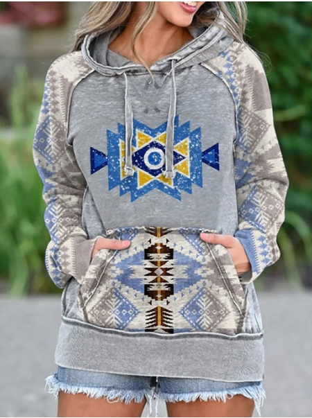 Dresswel Women Ethnic Print Hooded Long Sleeved Pocket Loose Pullover Hoodies Tops