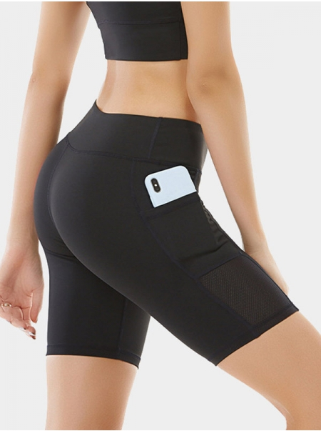 Dresswel Women Yoga Shorts Side Pocket Quick-drying Colorblock Five-point Pants Bottoms