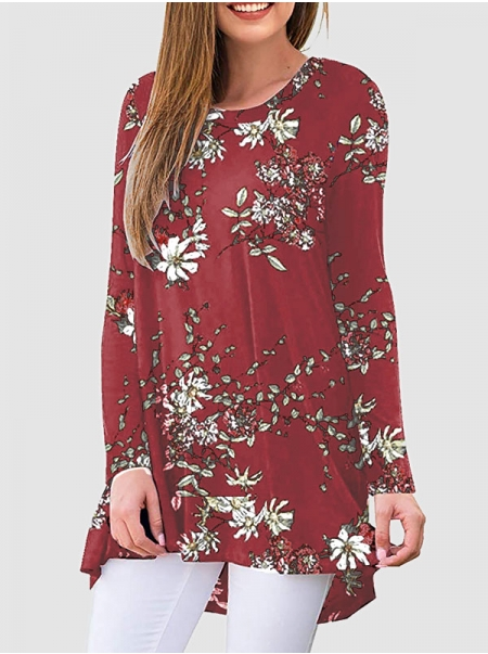 Dresswel Women Floral Print Crew Neck Long Sleeves Loose Fit Pullover T-Shirt Tops