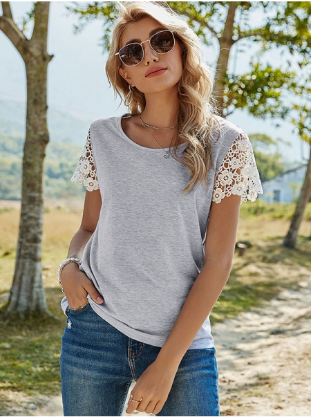 Dresswel Women Solid Color Crew Neck Lace Stitching Short Sleeve T-Shirts Tops